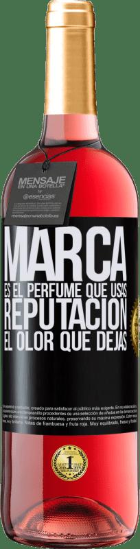 24,95 € Envío gratis | Vino Rosado Edición ROSÉ Marca es el perfume que usas. Reputación, el olor que dejas Etiqueta Negra. Etiqueta personalizable Vino joven Cosecha 2020 Tempranillo