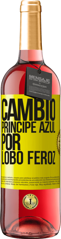 29,95 € Free Shipping | Rosé Wine ROSÉ Edition Change blue prince for fierce wolf Yellow Label. Customizable label Young wine Harvest 2020 Tempranillo