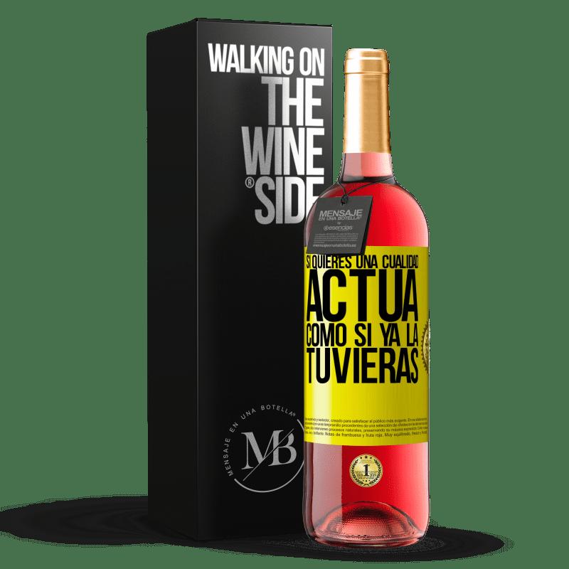 24,95 € Envoi gratuit | Vin rosé Édition ROSÉ Si vous voulez une qualité, faites comme si vous l'aviez déjà Étiquette Jaune. Étiquette personnalisable Vin jeune Récolte 2020 Tempranillo