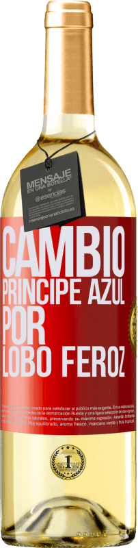 29,95 € Free Shipping | White Wine WHITE Edition Change blue prince for fierce wolf Red Label. Customizable label Young wine Harvest 2020 Verdejo