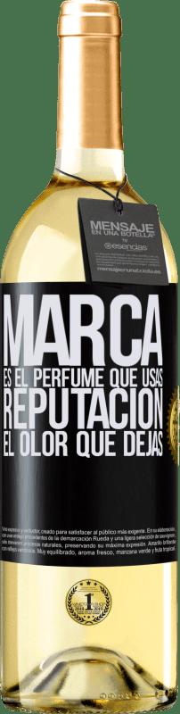 24,95 € Envío gratis | Vino Blanco Edición WHITE Marca es el perfume que usas. Reputación, el olor que dejas Etiqueta Negra. Etiqueta personalizable Vino joven Cosecha 2020 Verdejo