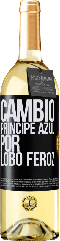 29,95 € Free Shipping | White Wine WHITE Edition Change blue prince for fierce wolf Black Label. Customizable label Young wine Harvest 2020 Verdejo
