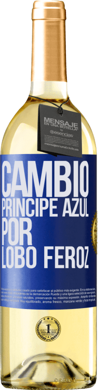 29,95 € Free Shipping | White Wine WHITE Edition Change blue prince for fierce wolf Blue Label. Customizable label Young wine Harvest 2020 Verdejo