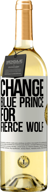 24,95 € Free Shipping | White Wine WHITE Edition Change blue prince for fierce wolf White Label. Customizable label Young wine Harvest 2020 Verdejo