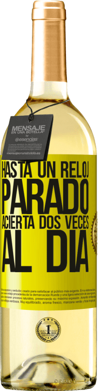 24,95 € Envío gratis | Vino Blanco Edición WHITE Hasta un reloj parado acierta dos veces al día Etiqueta Amarilla. Etiqueta personalizable Vino joven Cosecha 2020 Verdejo