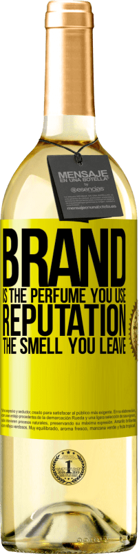 24,95 € Free Shipping   White Wine WHITE Edition Brand is the perfume you use. Reputation, the smell you leave Yellow Label. Customizable label Young wine Harvest 2020 Verdejo