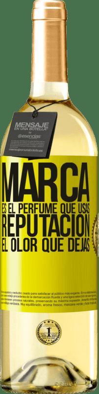 24,95 € Envío gratis | Vino Blanco Edición WHITE Marca es el perfume que usas. Reputación, el olor que dejas Etiqueta Amarilla. Etiqueta personalizable Vino joven Cosecha 2020 Verdejo