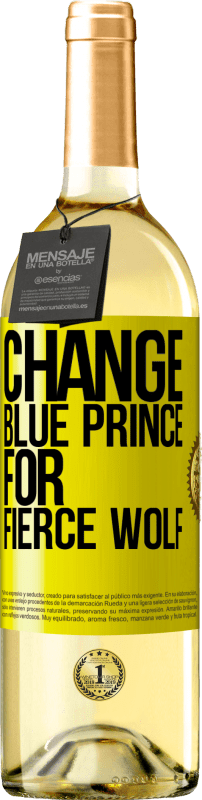 24,95 € Free Shipping | White Wine WHITE Edition Change blue prince for fierce wolf Yellow Label. Customizable label Young wine Harvest 2020 Verdejo