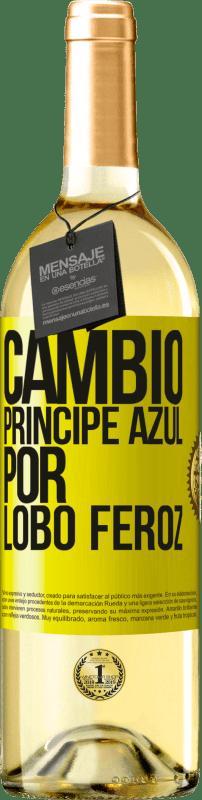 24,95 € Envío gratis | Vino Blanco Edición WHITE Cambio príncipe azul por lobo feroz Etiqueta Amarilla. Etiqueta personalizable Vino joven Cosecha 2020 Verdejo