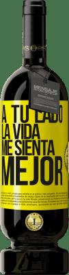 29,95 € Envío gratis   Vino Tinto Edición Premium MBS® Reserva A tu lado la vida me sienta mejor Etiqueta Amarilla. Etiqueta personalizable Reserva 12 Meses Cosecha 2013 Tempranillo