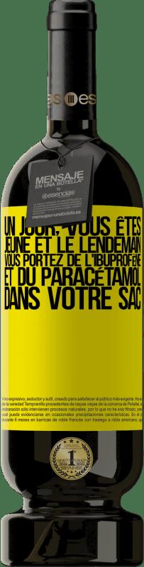24,95 € Envoi gratuit | Vin rouge Édition Premium RED MBS Un jour, vous êtes jeune et le lendemain, vous portez de l'ibuprofène et du paracétamol dans votre sac Étiquette Jaune. Étiquette personnalisée I.G.P. Vino de la Tierra de Castilla y León Vieillissement en fûts de chêne 12 Mois Récolte 2016 Espagne Tempranillo