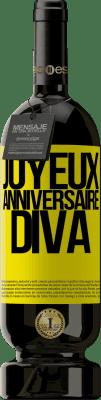 24,95 € Envoi gratuit | Vin rouge Édition Premium RED MBS Joyeux anniversaire Diva Étiquette Jaune. Étiquette personnalisée I.G.P. Vino de la Tierra de Castilla y León Vieillissement en fûts de chêne 12 Mois Récolte 2016 Espagne Tempranillo