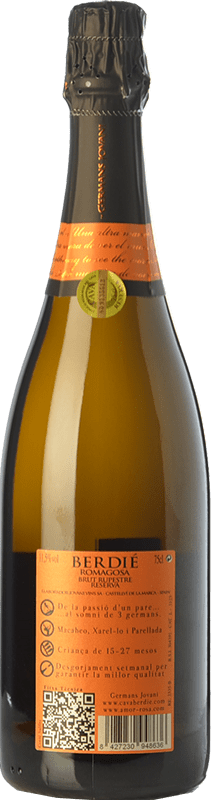 8,95 € Free Shipping | White sparkling Berdié Rupestre Brut Reserva D.O. Cava Catalonia Spain Macabeo, Xarel·lo, Parellada Bottle 75 cl. | Thousands of wine lovers trust us to get the best price guarantee, free shipping always and hassle-free shopping and returns.