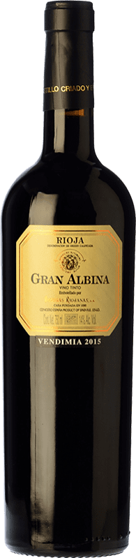 19,95 € Envío gratis   Vino tinto Bodegas Riojanas Gran Albina Vendimia Seleccionada Reserva D.O.Ca. Rioja La Rioja España Tempranillo, Graciano, Mazuelo Botella 75 cl