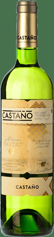 6,95 € Envío gratis | Vino blanco Castaño Crianza D.O. Yecla Región de Murcia España Macabeo, Chardonnay Botella 75 cl