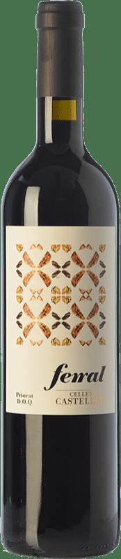 10,95 € Free Shipping | Red wine Castellet Ferral Crianza D.O.Ca. Priorat Catalonia Spain Merlot, Syrah, Grenache, Cabernet Sauvignon, Grenache Hairy Bottle 75 cl