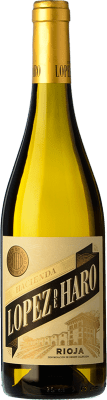 5,95 € 免费送货 | 白酒 Classica Hacienda López de Haro Barrica Crianza D.O.Ca. Rioja 拉里奥哈 西班牙 Viura 瓶子 75 cl | 成千上万的葡萄酒爱好者信赖我们,保证最优惠的价格,免费送货,购买和退货,没有复杂性.