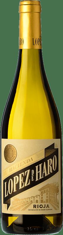 6,95 € Envio grátis | Vinho branco Classica Hacienda López de Haro Barrica Crianza D.O.Ca. Rioja La Rioja Espanha Viura Garrafa 75 cl