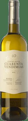 6,95 € Envío gratis | Vino blanco Cuatro Rayas Cuarenta Vendimias D.O. Rueda Castilla y León España Verdejo Botella 75 cl