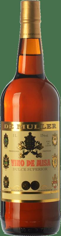 7,95 € Envío gratis | Vino dulce De Muller Vino de Misa D.O. Terra Alta Cataluña España Garnacha Blanca, Macabeo Botella Misil 1 L