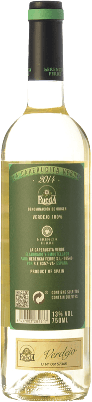8,95 € Free Shipping | White wine Ferré i Catasús La Caperucita Verde D.O. Rueda Castilla y León Spain Verdejo Bottle 75 cl | Thousands of wine lovers trust us to get the best price guarantee, free shipping always and hassle-free shopping and returns.