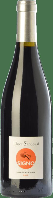 18,95 € Free Shipping | Red wine Finca Sandoval Signo Bobal Crianza D.O. Manchuela Castilla la Mancha Spain Syrah, Bobal Bottle 75 cl