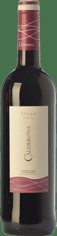 4,95 € Envío gratis | Vino tinto Frutos Villar Viña Calderona Joven D.O. Cigales Castilla y León España Tempranillo Botella 75 cl