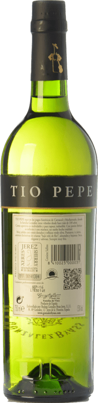 6,95 € Envío gratis | Vino generoso González Byass Tío Pepe Fino Muy Seco D.O. Manzanilla-Sanlúcar de Barrameda Andalucía España Palomino Fino Botella 75 cl