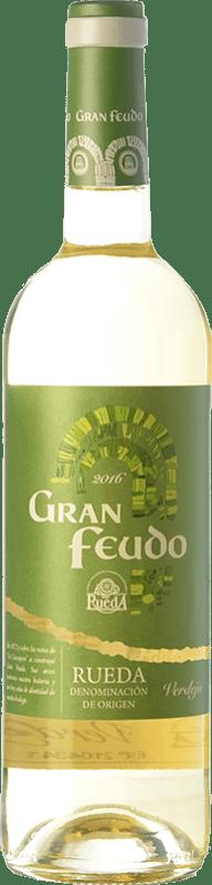 6,95 € Envío gratis | Vino blanco Gran Feudo D.O. Rueda Castilla y León España Verdejo Botella 75 cl