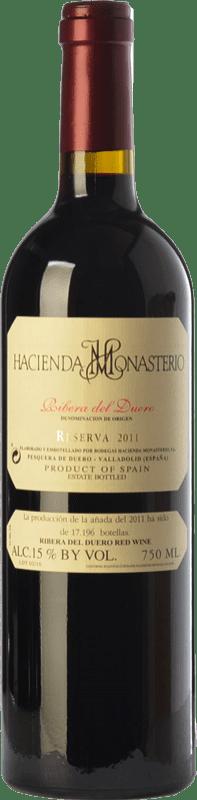 51,95 € Envío gratis | Vino tinto Hacienda Monasterio Reserva D.O. Ribera del Duero Castilla y León España Tempranillo, Cabernet Sauvignon Botella 75 cl