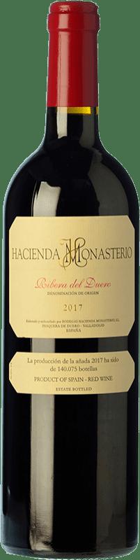 62,95 € Kostenloser Versand | Rotwein Hacienda Monasterio Crianza D.O. Ribera del Duero Kastilien und León Spanien Tempranillo, Merlot, Cabernet Sauvignon, Malbec Magnum-Flasche 1,5 L