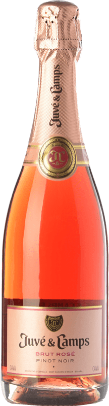14,95 € Free Shipping | Rosé sparkling Juvé y Camps Rosé Brut Joven D.O. Cava Catalonia Spain Pinot Black Bottle 75 cl