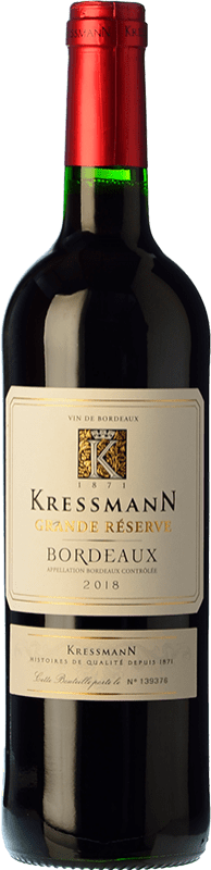 6,95 € Envío gratis   Vino tinto Kressmann Rouge Grande Réserve Gran Reserva A.O.C. Bordeaux Burdeos Francia Merlot, Cabernet Sauvignon, Cabernet Franc Botella 75 cl