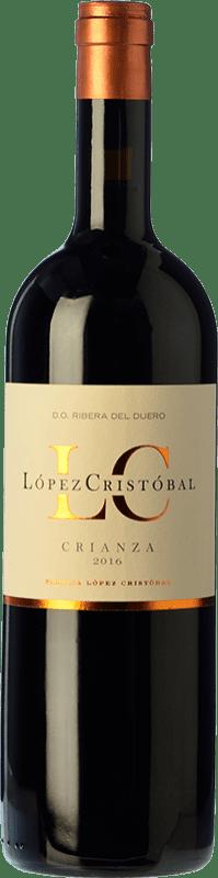 16,95 € Envío gratis | Vino tinto López Cristóbal Crianza D.O. Ribera del Duero Castilla y León España Tempranillo, Merlot Botella 75 cl