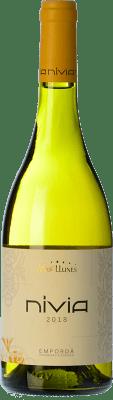12,95 € Free Shipping | White wine Mas Llunes Nívia Crianza D.O. Empordà Catalonia Spain Samsó, Grenache White Bottle 75 cl