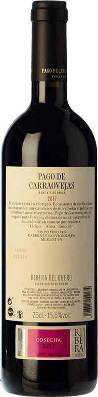 36,95 € Free Shipping | Red wine Pago de Carraovejas Crianza D.O. Ribera del Duero Castilla y León Spain Tempranillo, Merlot, Cabernet Sauvignon Bottle 75 cl | Thousands of wine lovers trust us to get the best price guarantee, free shipping always and hassle-free shopping and returns.