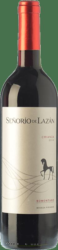 6,95 € Free Shipping | Red wine Pirineos Señorío de Lazán Crianza D.O. Somontano Aragon Spain Tempranillo, Merlot, Cabernet Sauvignon Bottle 75 cl