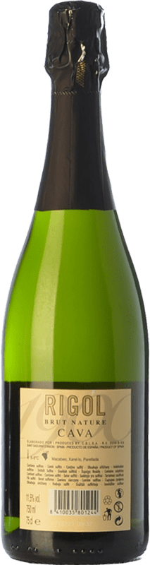 4,95 € Free Shipping | White sparkling Rigol Brut Nature Joven D.O. Cava Catalonia Spain Macabeo, Xarel·lo, Parellada Bottle 75 cl | Thousands of wine lovers trust us to get the best price guarantee, free shipping always and hassle-free shopping and returns.