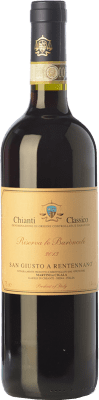 29,95 € Free Shipping | Red wine San Giusto a Rentennano Le Baròncole D.O.C.G. Chianti Classico Tuscany Italy Sangiovese, Canaiolo Black Bottle 75 cl