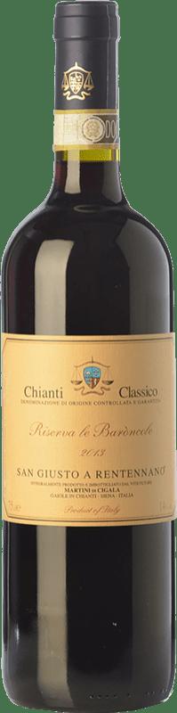 27,95 € Free Shipping | Red wine San Giusto a Rentennano Le Baròncole D.O.C.G. Chianti Classico Tuscany Italy Sangiovese, Canaiolo Black Bottle 75 cl