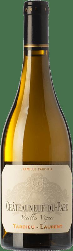 53,95 € Envío gratis | Vino blanco Tardieu-Laurent Vieilles Vignes Blanc Crianza A.O.C. Châteauneuf-du-Pape Rhône Francia Garnacha Blanca, Roussanne, Clairette Blanche Botella 75 cl