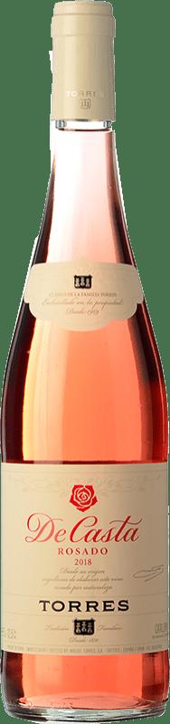 5,95 € Envío gratis | Vino rosado Torres De Casta Joven D.O. Catalunya Cataluña España Garnacha, Cariñena Botella 75 cl
