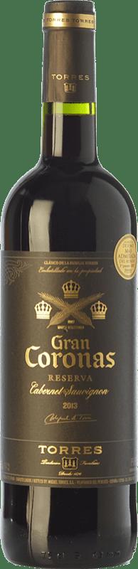 13,95 € Envío gratis | Vino tinto Torres Gran Coronas Reserva D.O. Penedès Cataluña España Tempranillo, Cabernet Sauvignon Botella 75 cl