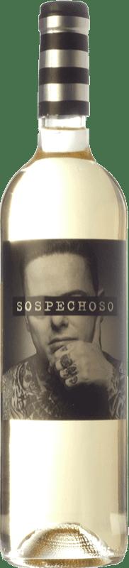 9,95 € Free Shipping | White wine Uvas Felices Sospechoso I.G.P. Vino de la Tierra de Castilla Castilla la Mancha Spain Macabeo, Airén, Verdejo Magnum Bottle 1,5 L