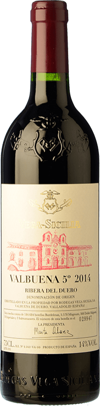 109,95 € Free Shipping | Red wine Vega Sicilia Valbuena 5º año Reserva D.O. Ribera del Duero Castilla y León Spain Tempranillo, Merlot Bottle 75 cl