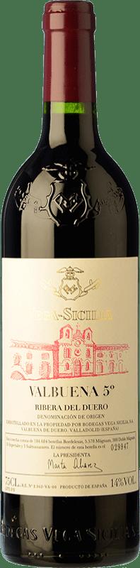 129,95 € Envío gratis | Vino tinto Vega Sicilia Valbuena 5º año Reserva D.O. Ribera del Duero Castilla y León España Tempranillo, Merlot Botella 75 cl