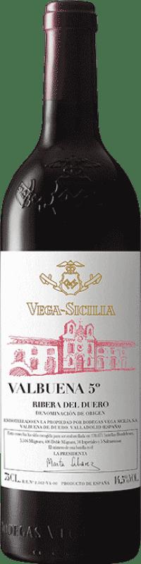 293,95 € Envío gratis | Vino tinto Vega Sicilia Valbuena 5º año Gran Reserva D.O. Ribera del Duero Castilla y León España Tempranillo, Merlot Botella Mágnum 1,5 L
