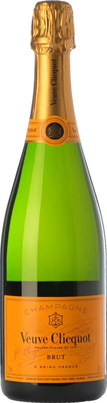 37,95 € Free Shipping | White sparkling Veuve Clicquot Carte Jaune Brut A.O.C. Champagne Champagne France Chardonnay, Pinot Meunier Bottle 75 cl | Thousands of wine lovers trust us to get the best price guarantee, free shipping always and hassle-free shopping and returns.