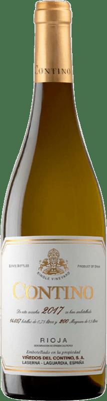 29,95 € Spedizione Gratuita | Vino bianco Viñedos del Contino Crianza D.O.Ca. Rioja La Rioja Spagna Viura, Malvasía, Grenache Bianca Bottiglia 75 cl