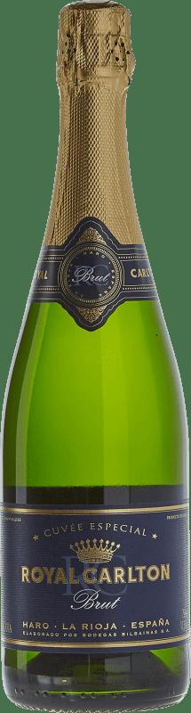 11,95 € 免费送货   白起泡酒 Bodegas Bilbaínas Royal Carlton Brut Nature Reserva D.O. Cava 加泰罗尼亚 西班牙 Malvasía, Macabeo 瓶子 75 cl
